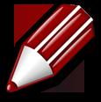 der rote Stift zum Bearbeiten